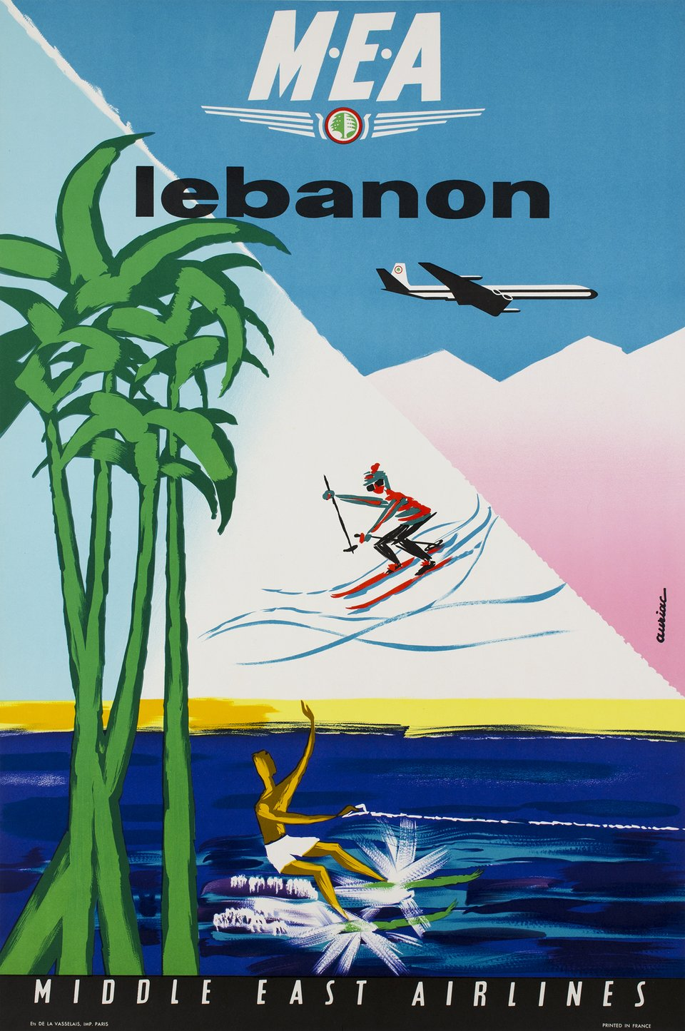 MEA, Middle East Airlines, Lebanon – Vintage poster – Jacques AURIAC – 1961
