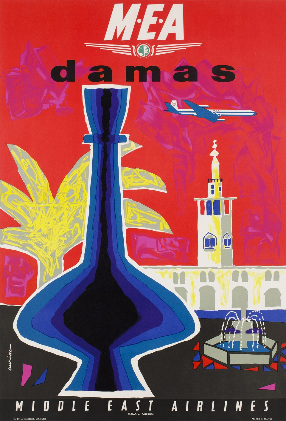 MEA, Middle East Airlines,Damas – Vintage poster – Jacques AURIAC – 1962