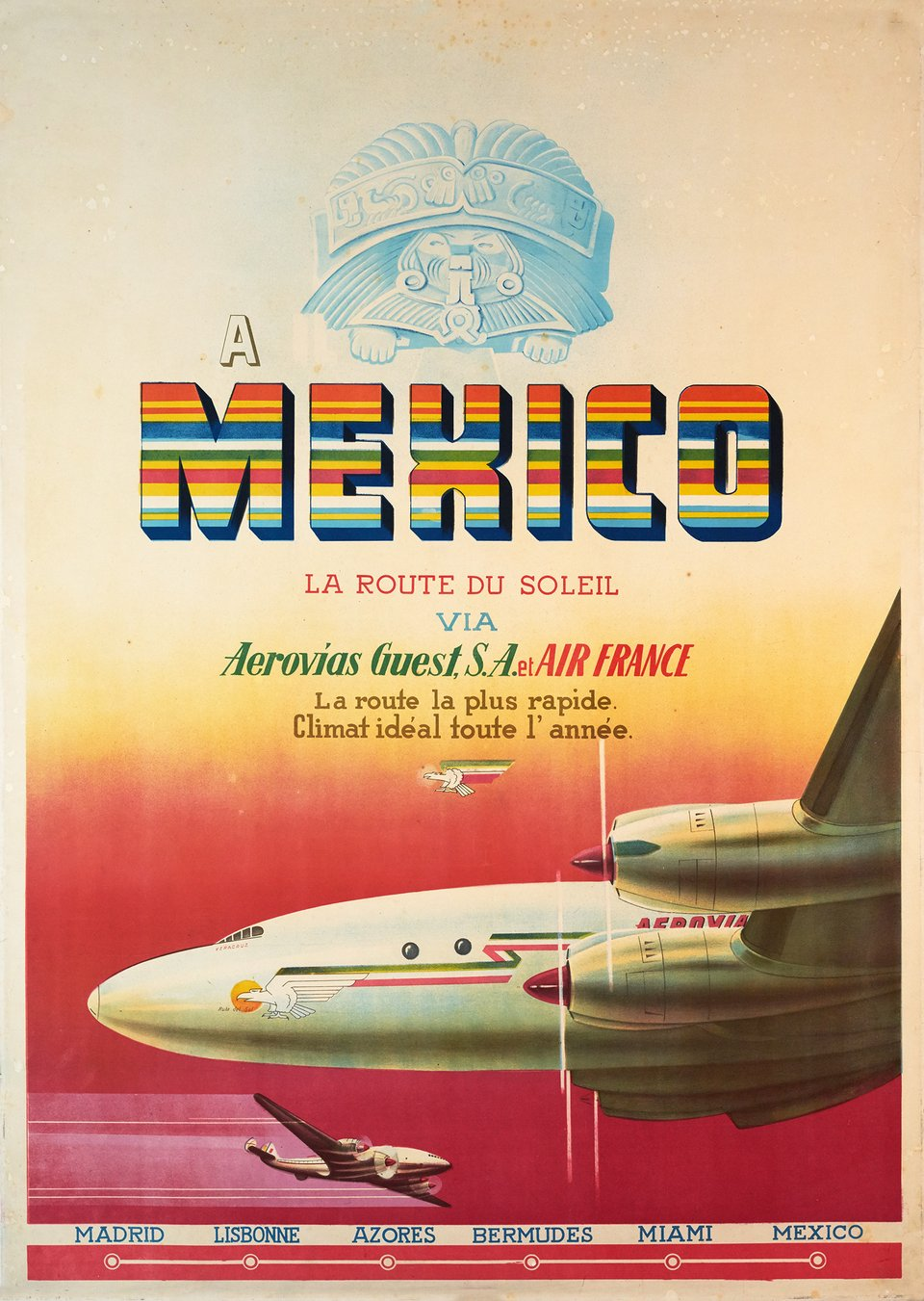 Mexico, la route du soleil avec Aerovias Guest - Air France – Affiche ancienne – ANONYMOUS – 1950
