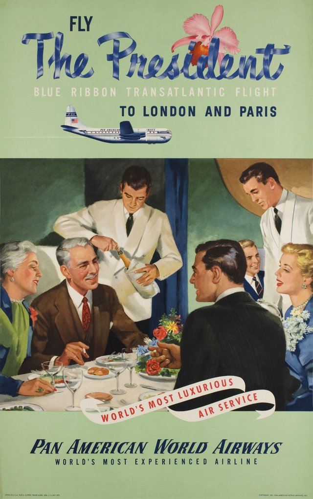 Pan Am, Fly the President, Blue Ribbon Transatlantic flight to London and Paris