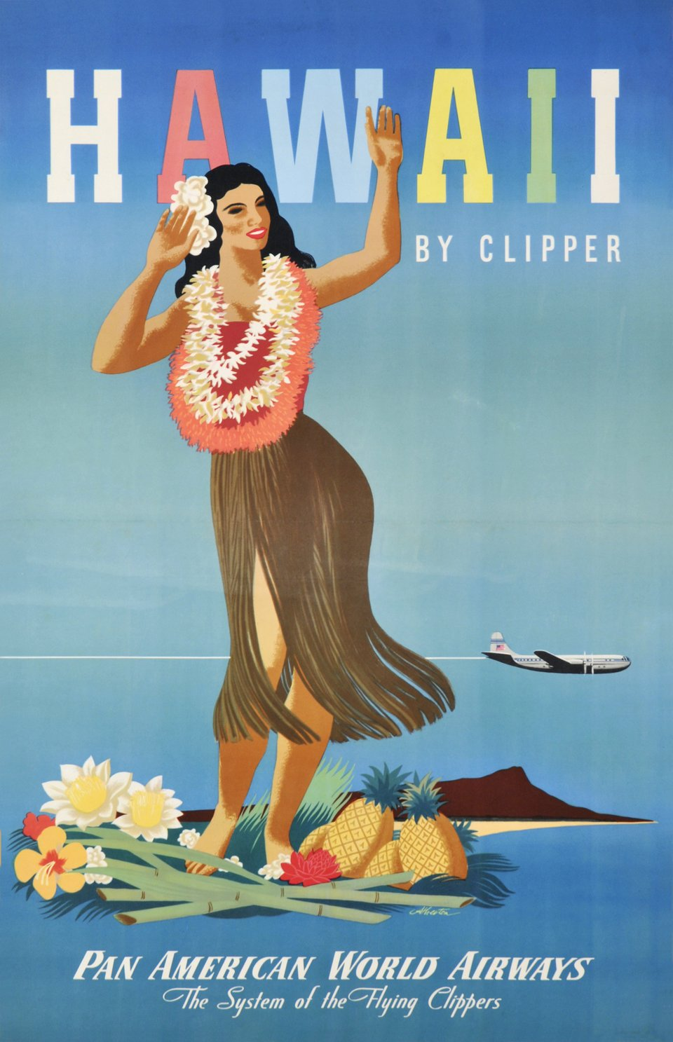 PAN AM - Hawaii by Clipper, Pan American World Airlines – Affiche ancienne – ATHERTON – 1946