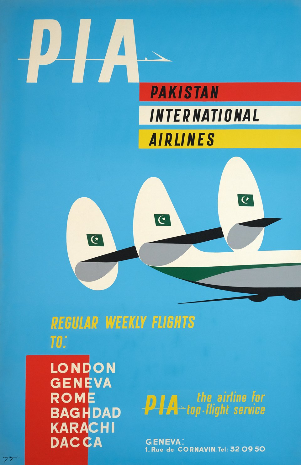 PIA, Pakistan International Airlines, Regular weekly flights to London, Geneva, Rome, Baghdad, Karachi, Dacca – Affiche ancienne – MAGET – 1960