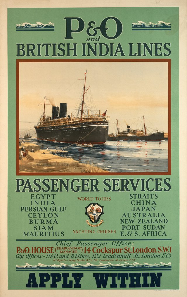 P&O and British India Lines, Passengers services, Apply within