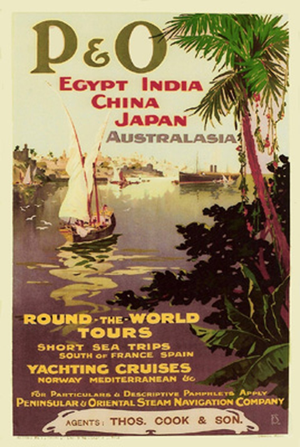 P&O, Peninsular & Oriental Steam Navigation Company, Egypt India China Japan Australia – Affiche ancienne – F.S. – 1925