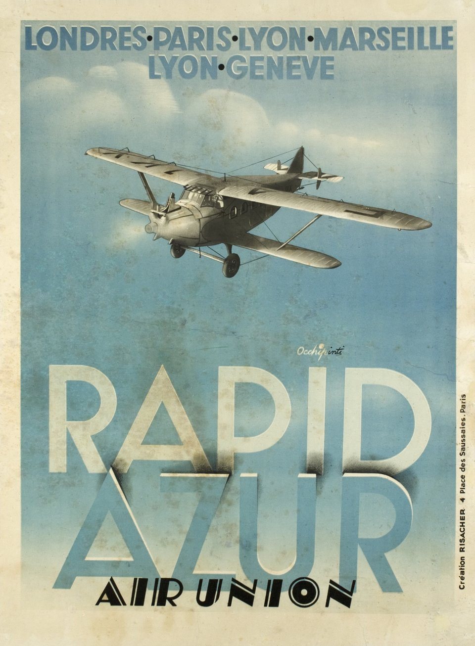 Rapid Azur, Air Union – Affiche ancienne – OCCHIPINTI – 1929