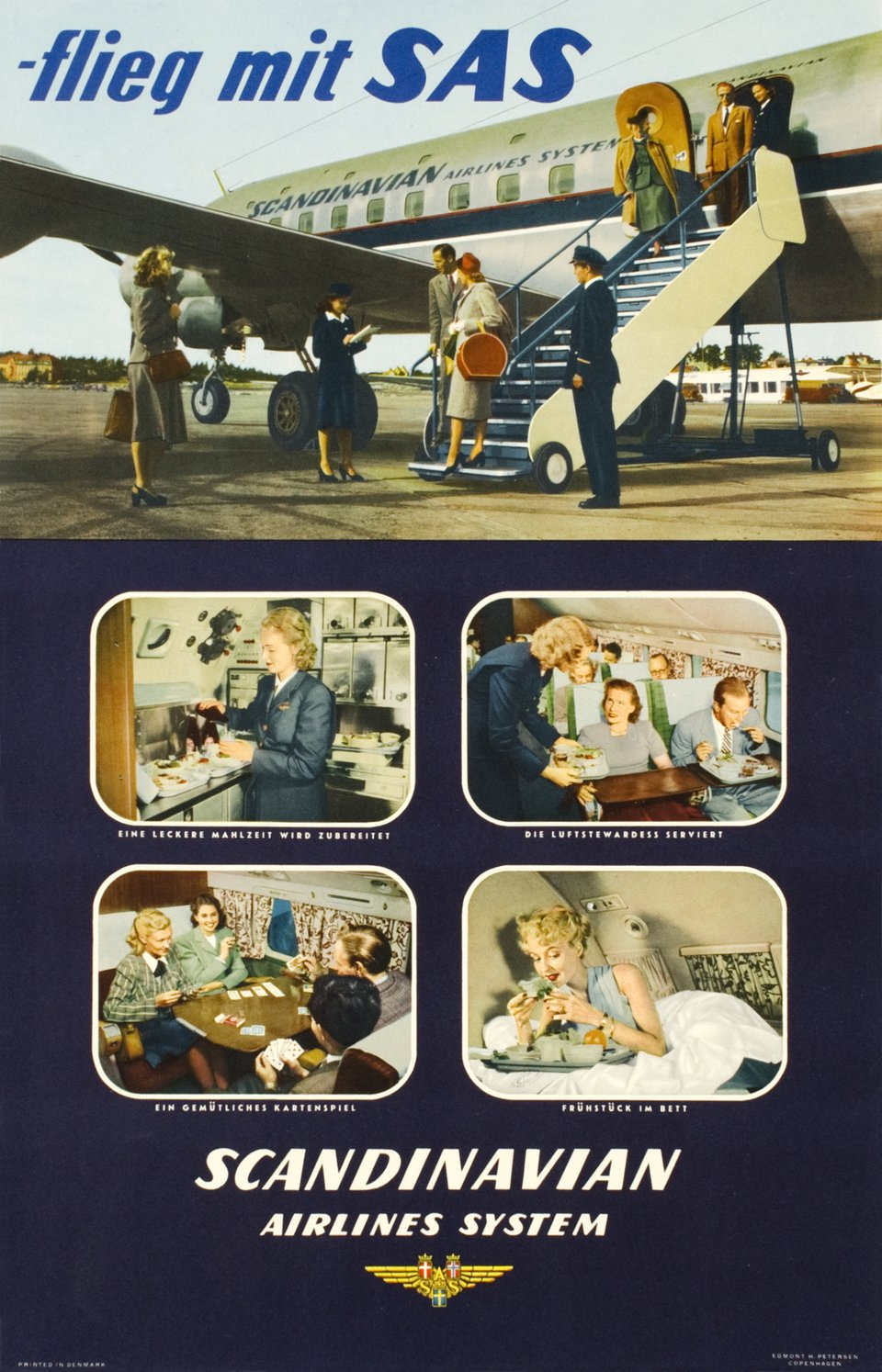 SAS - Flieg mit SAS, Scandinavian Airlines System – Vintage poster –  ANONYME – 1950