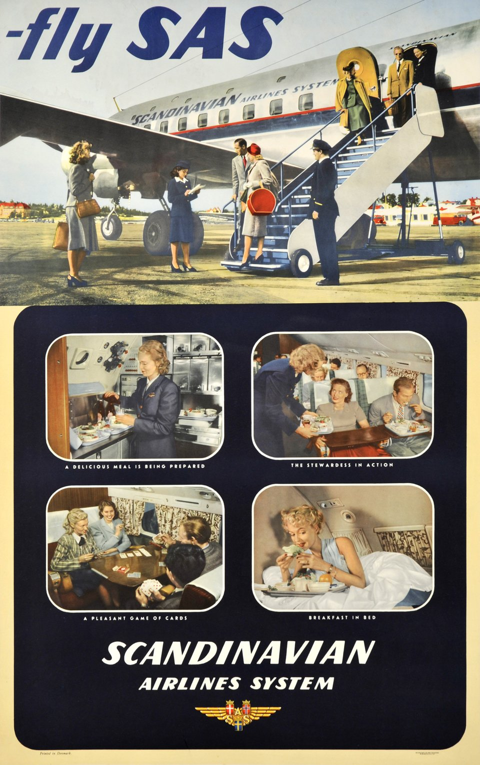 SAS, Fly SAS, Scandinavian Airlines System – Vintage poster –  ANONYME – 1950