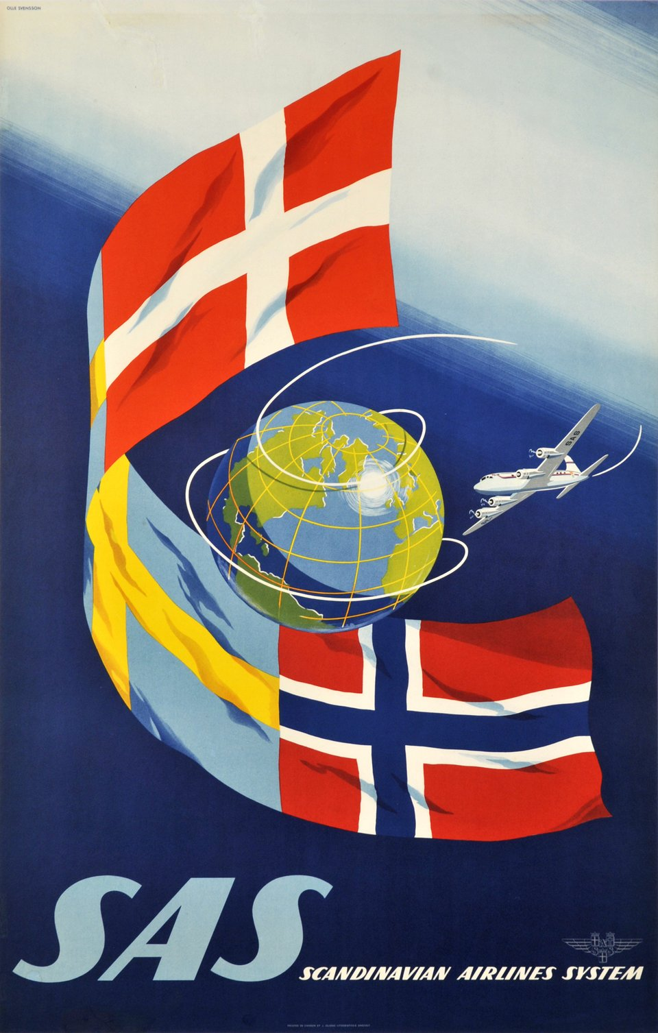 SAS, Scandinavian Airlines System – Affiche ancienne – Olle SWENSSON – 1950