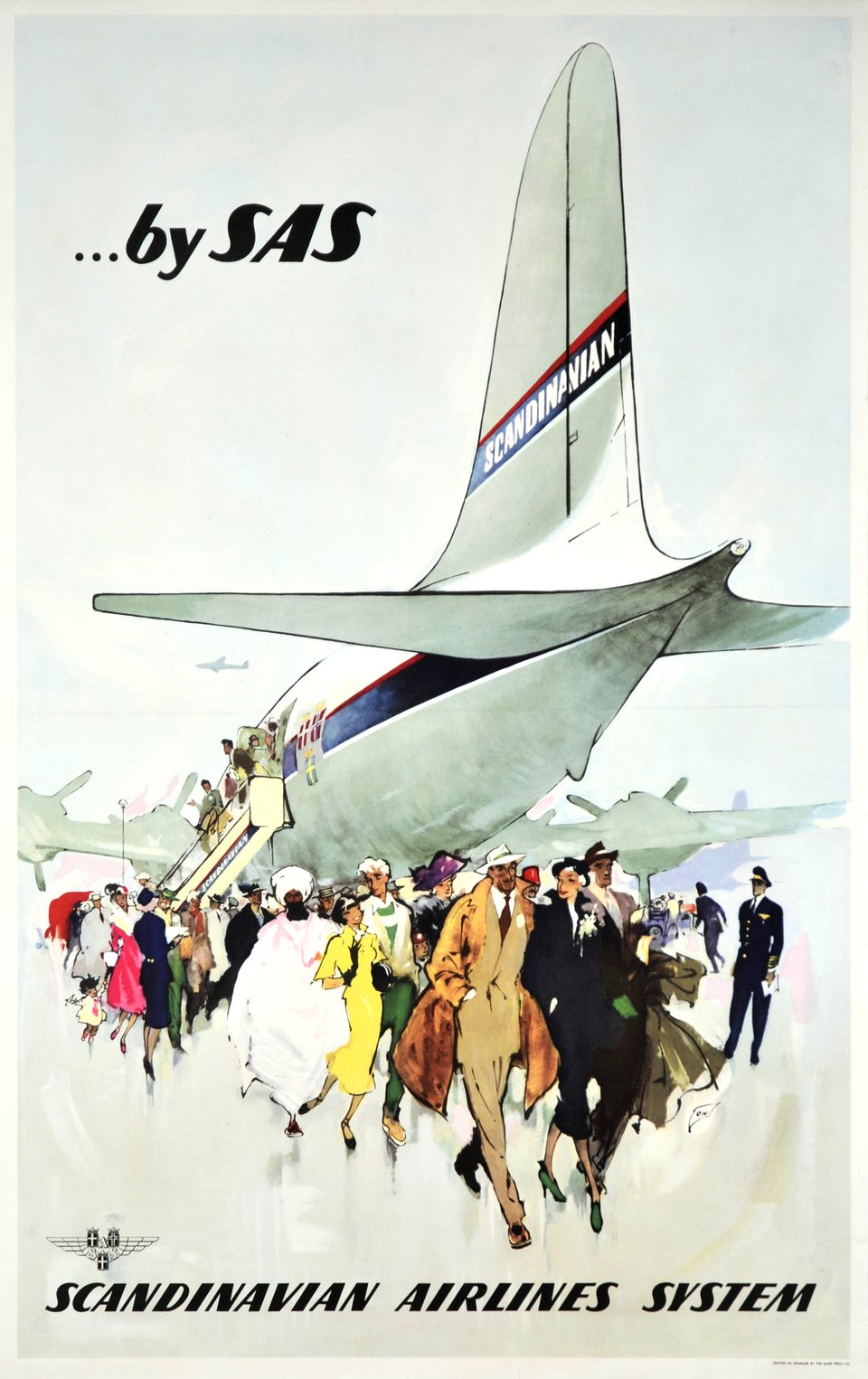 SAS, Scandinavian Airlines System – Affiche ancienne – Otto NIELSEN – 1958