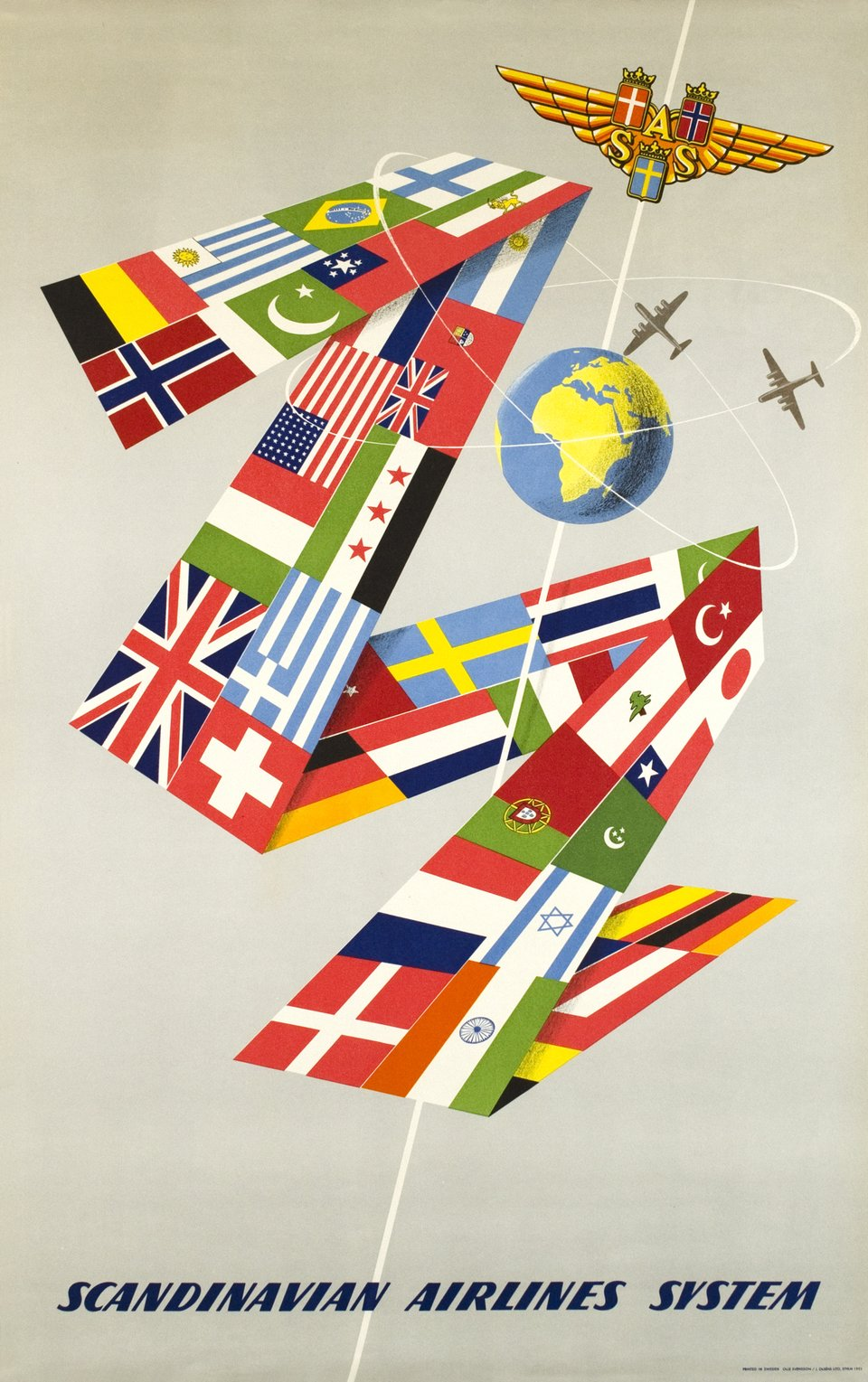 SAS, Scandinavian Airlines System – Vintage poster – Olle SWENSSON – 1952