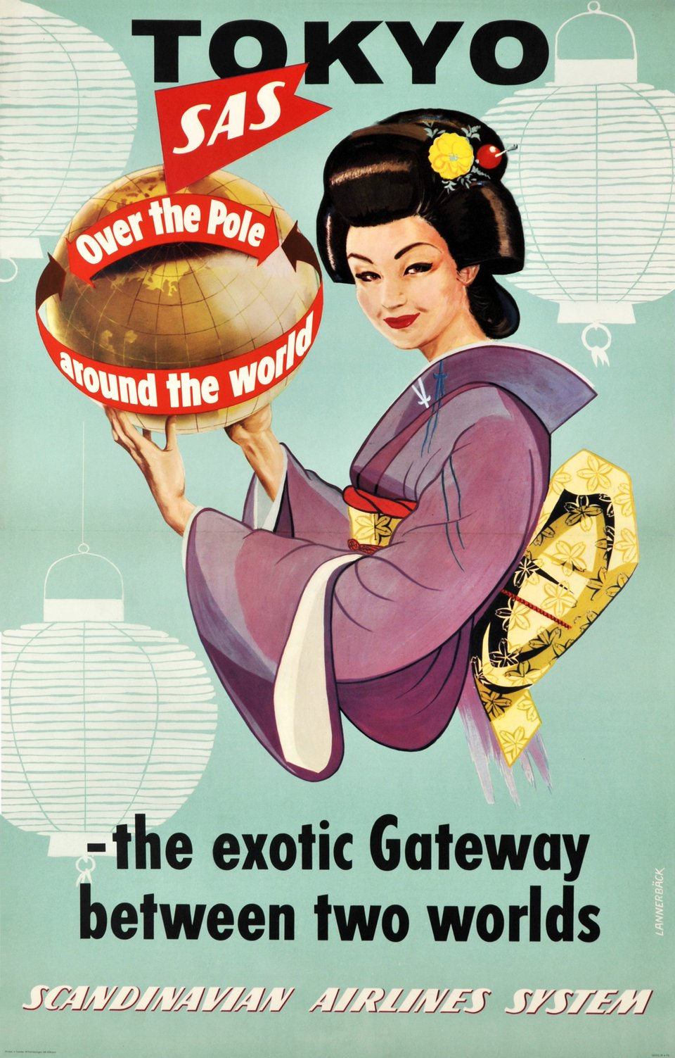 SAS - Tokyo SAS over the Pole, around the world, the exotic Gateway between two worlds – Vintage poster – LANNEBACK – 1954