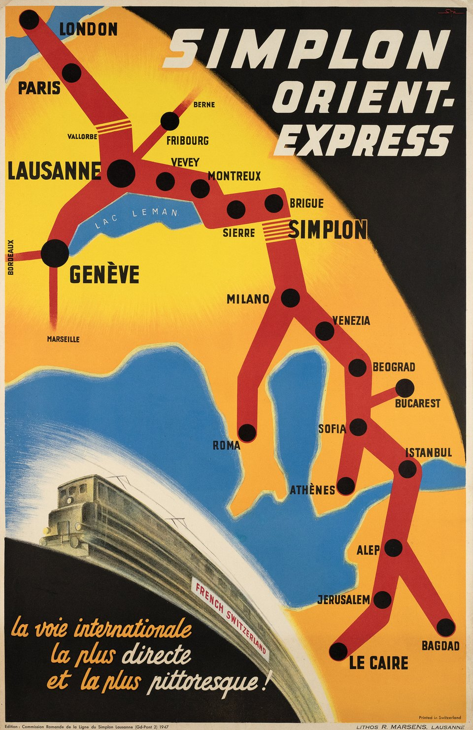 Simplon Orient-Express, la voie internationale la plus directe et la plus pittoresque – Affiche ancienne – Walther SPINNER – 1947