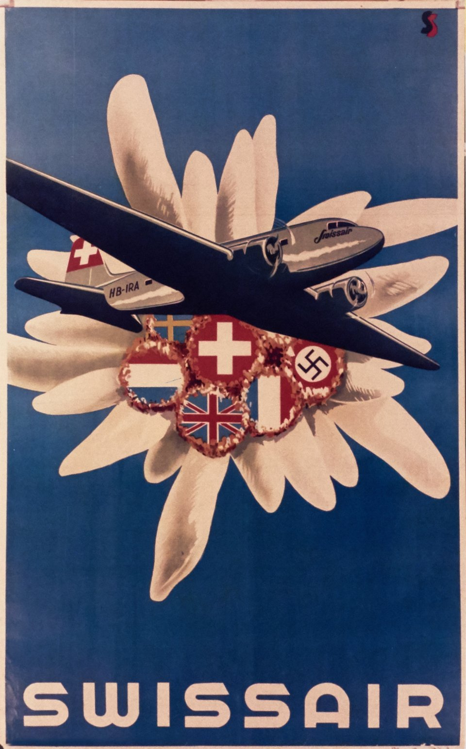 Swissair DC-3 – Affiche ancienne – SS, Studio SELECTION – 1938