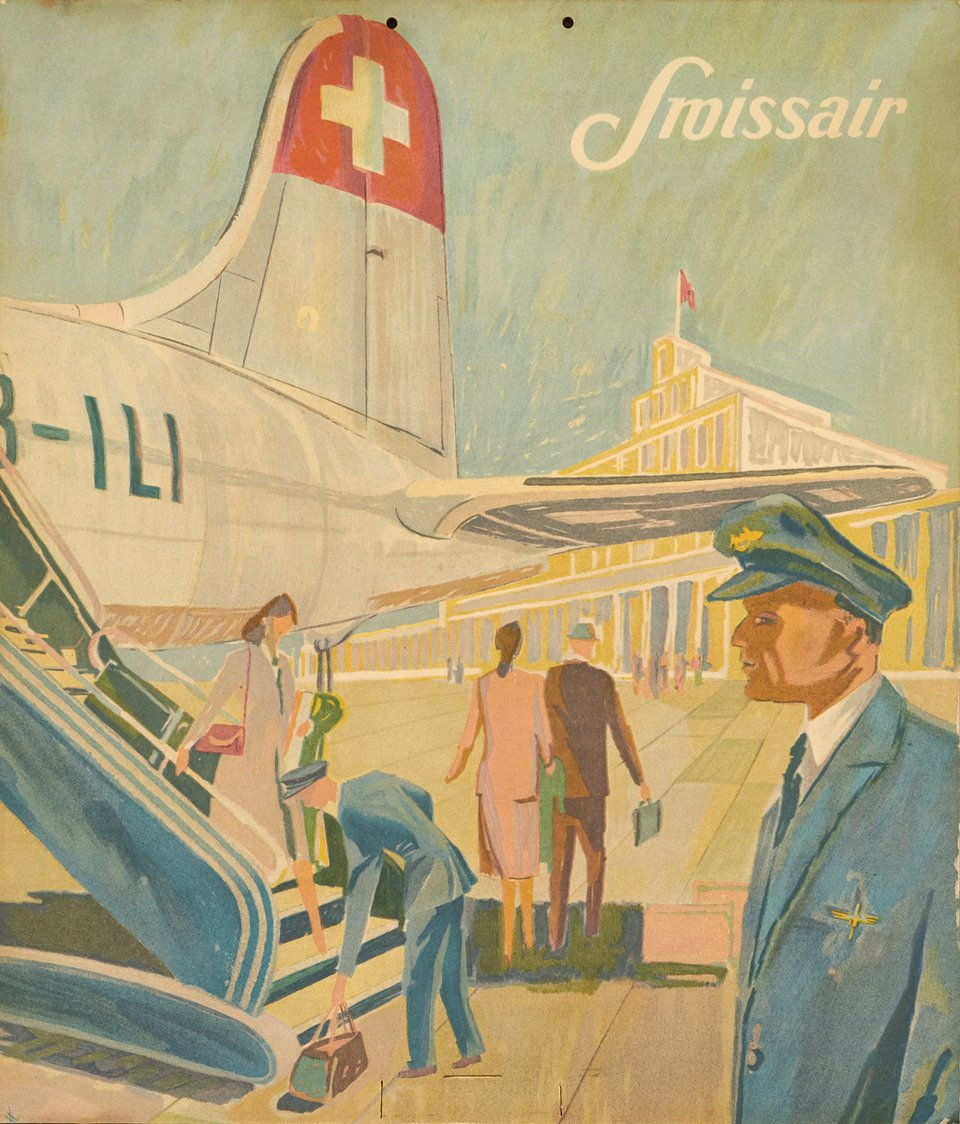 Swissair – Affiche ancienne – ANONYMOUS – 1950