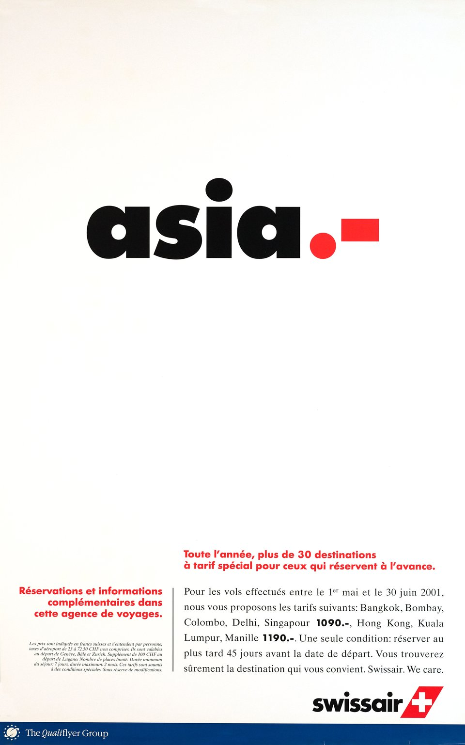 Swissair, asia – Vintage poster – ANONYME – 2001