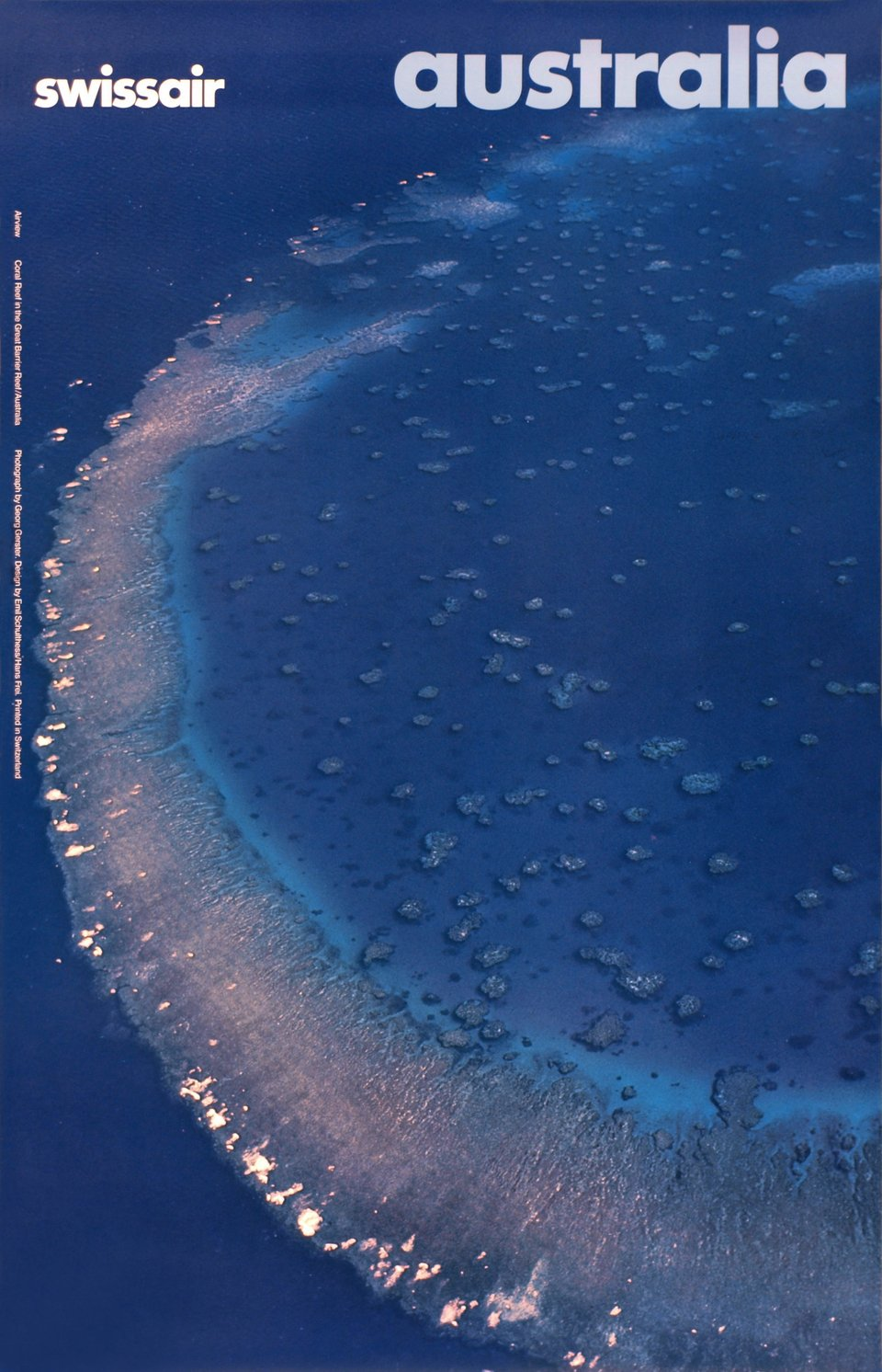 Swissair, Australia, Coral Reff in the Great Barrier Reef – Vintage poster – Hans FREI, Georg GERSTER, Emil SCHULTHESS – 1979
