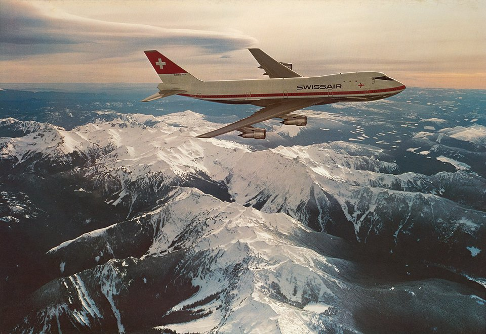 Swissair, Boeing 747-B – Affiche ancienne – ANONYMOUS – 1971