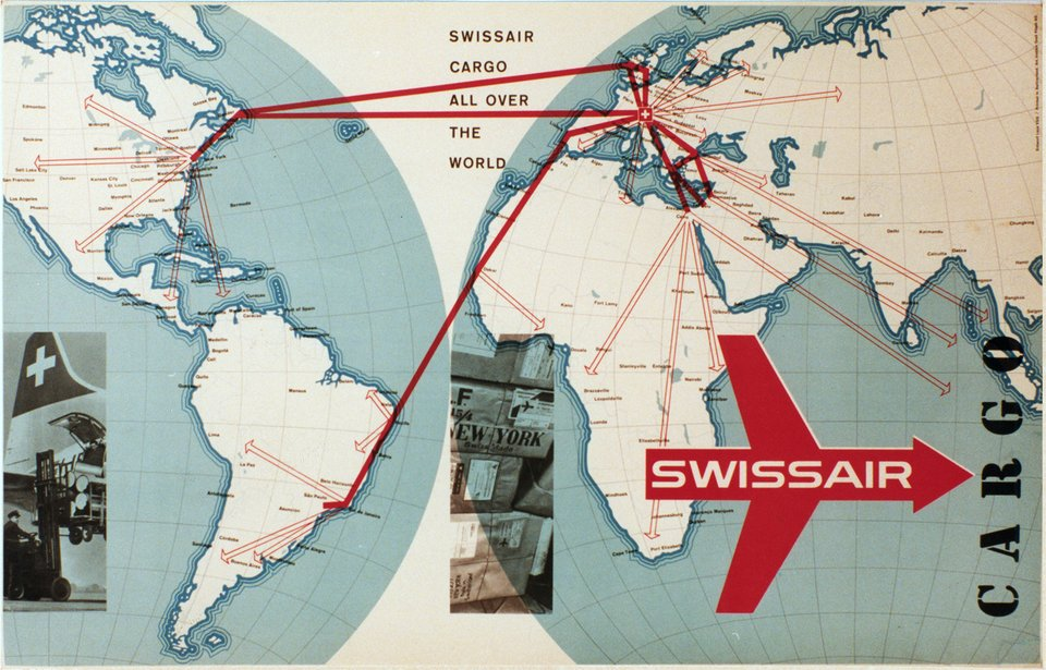 Swissair Cargo all over the world – Affiche ancienne – LENZ – 1958