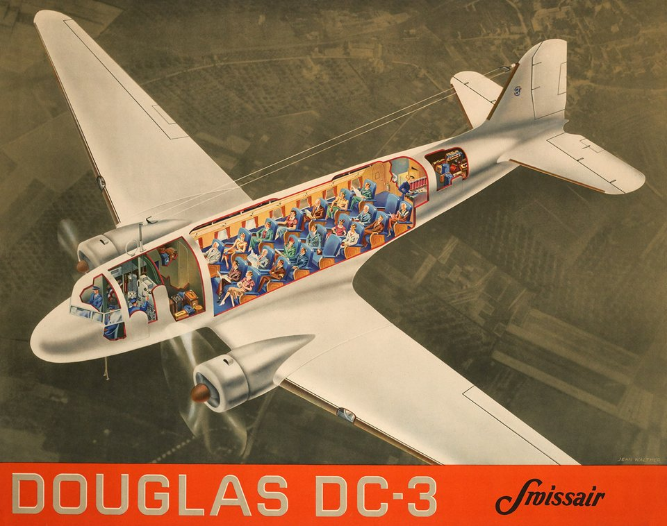 Swissair, Douglas DC-3 – Vintage poster – Jean WALTHER – 1937