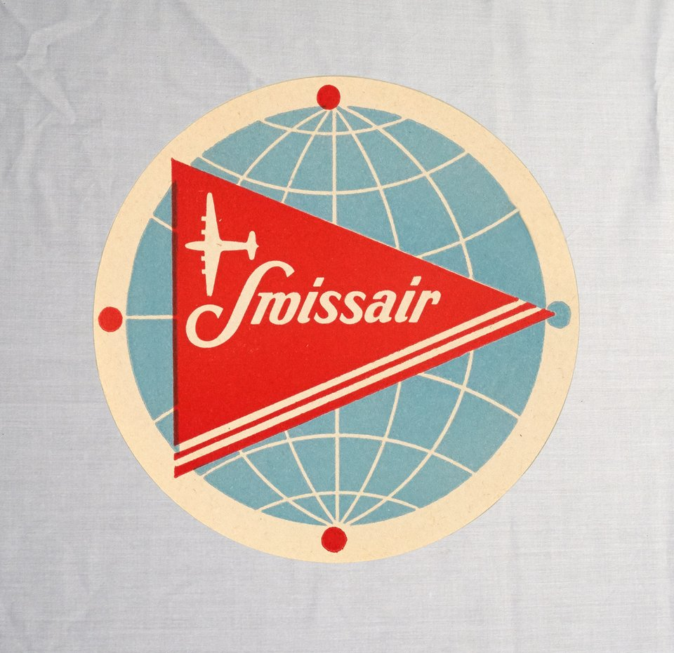 Swissair label DC-4 – Vintage poster – ANONYMOUS – 1949