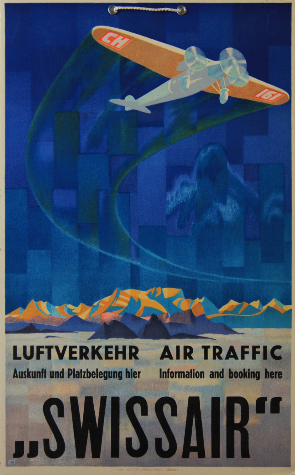 Swissair, Luftverkehr, Air Traffic – Affiche ancienne – Karl MOOS – 1933