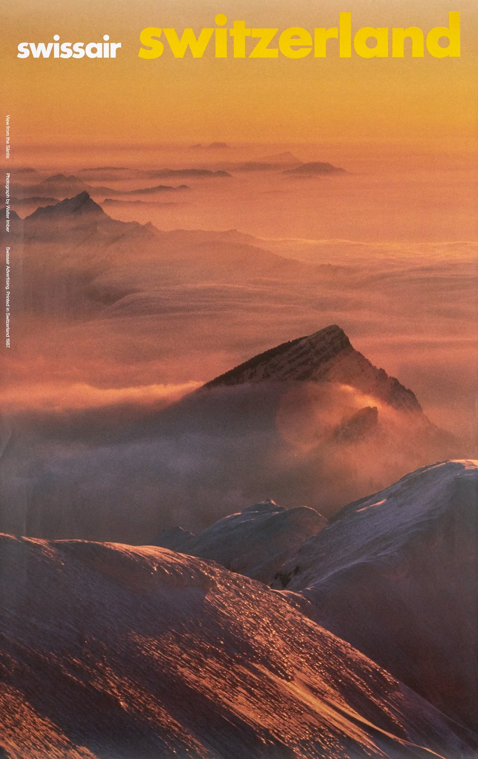 Swissair Switzerland, View from the Säntis – Vintage poster – Walter IMBER – 1987
