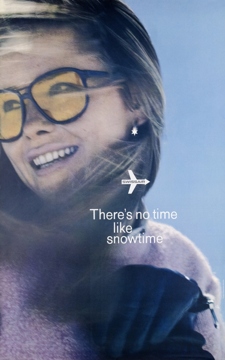 Swissair, There's no time like snowtime – Affiche ancienne – SCHNEIDER – 1975