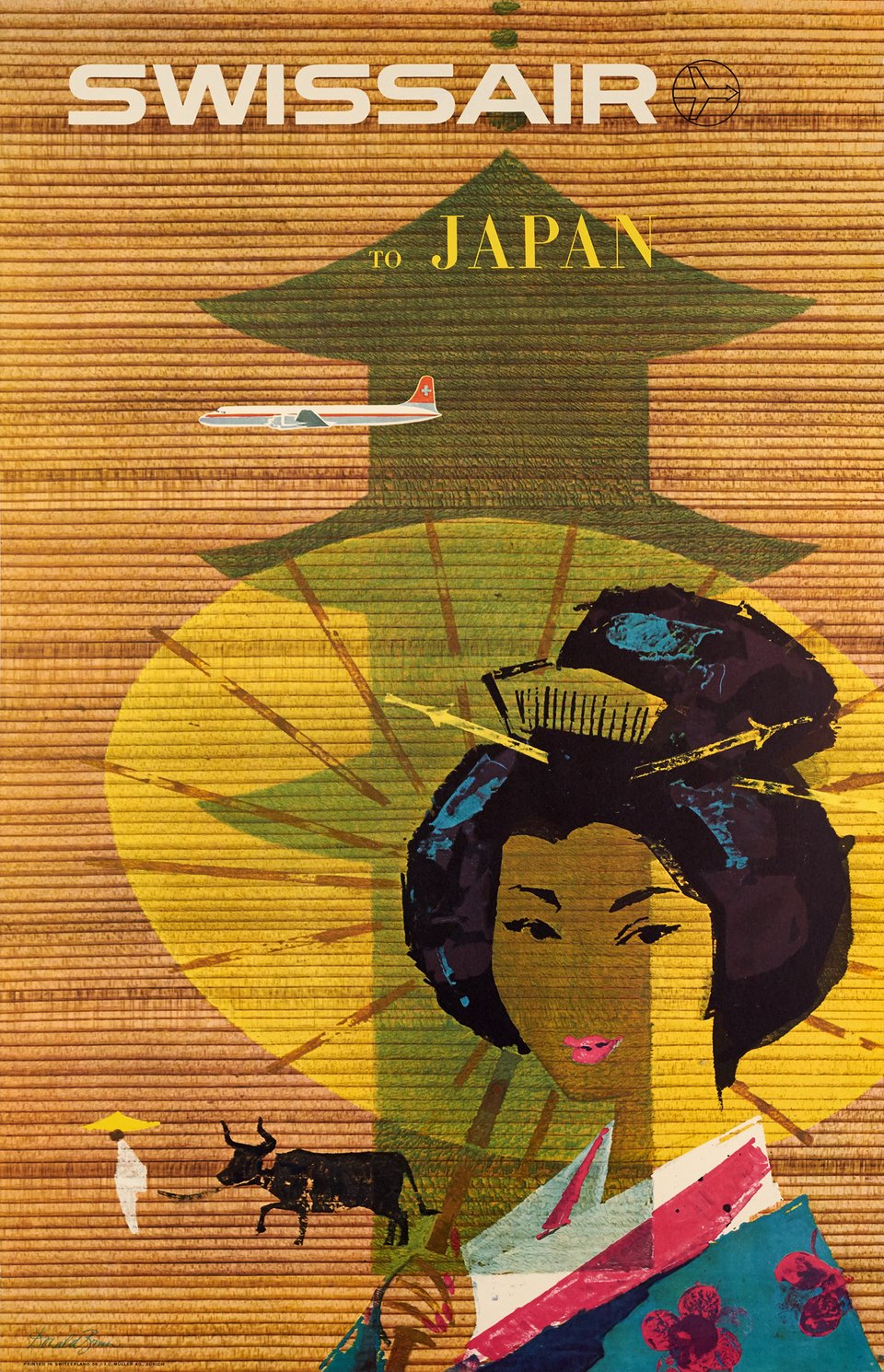 Swissair to Japan – Affiche ancienne – Donald BRUN – 1958