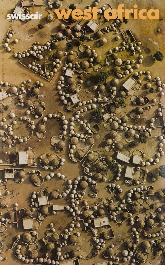 Swissair, West Africa, Houses and granaries : the village of Labbezanga, Mali