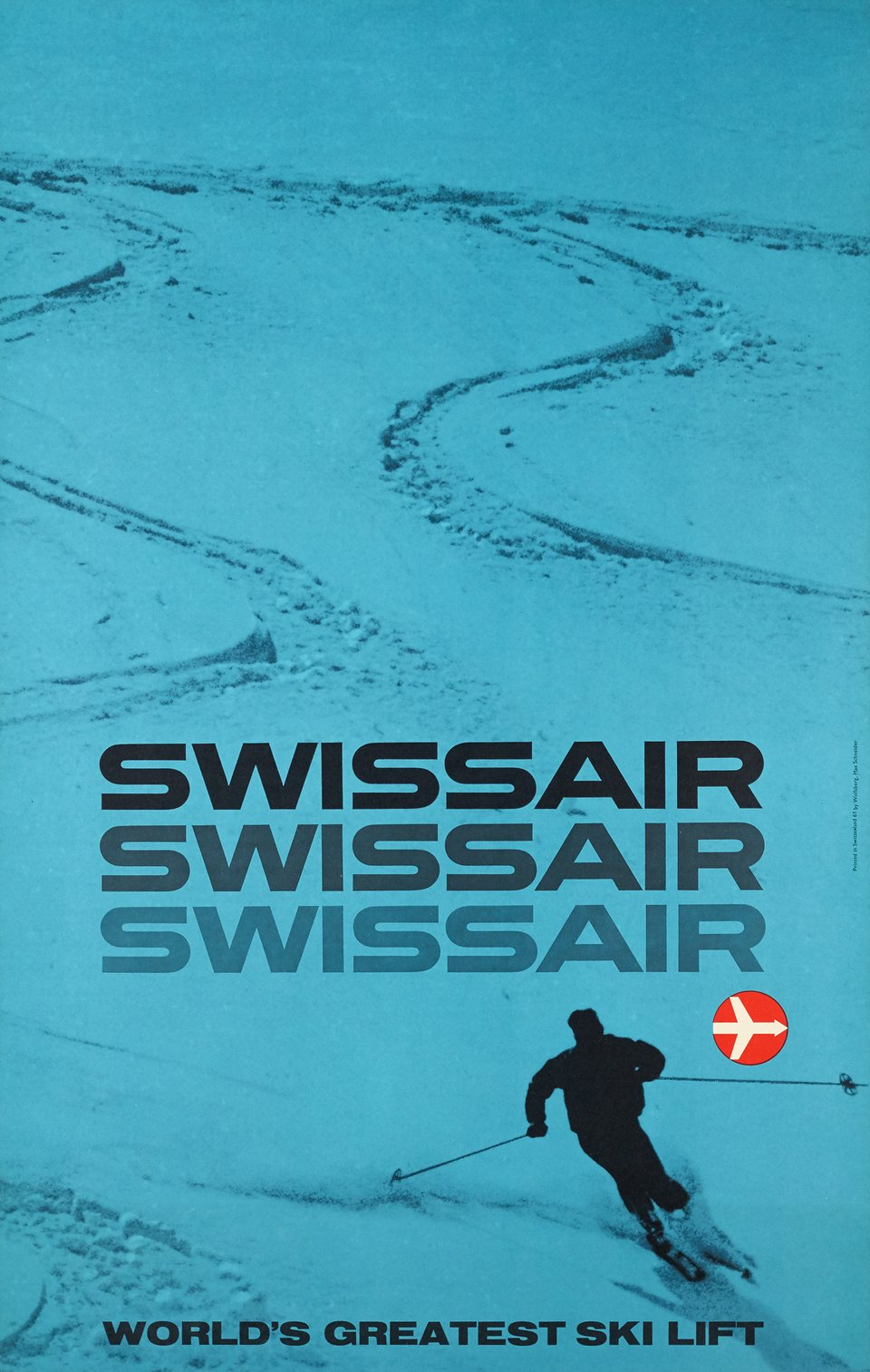 Swissair, World's greatest ski lift – Affiche ancienne – Max SCHNEIDER – 1961