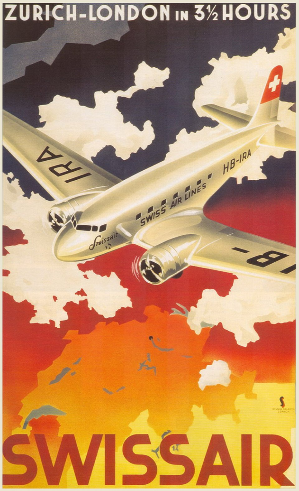 Swissair DC-3 HB-IRA, Zürich London in 3.5 hours – Vintage poster – SS, Studio SELECTION – 1937