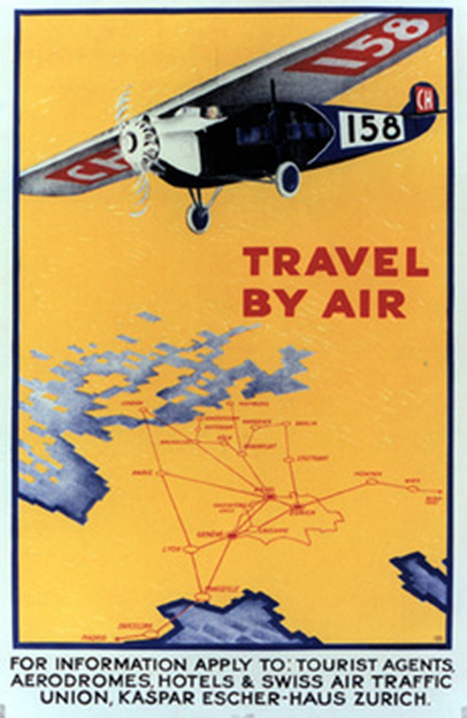 Travel by air – Vintage poster – Burkhard MANGOLD – 1928