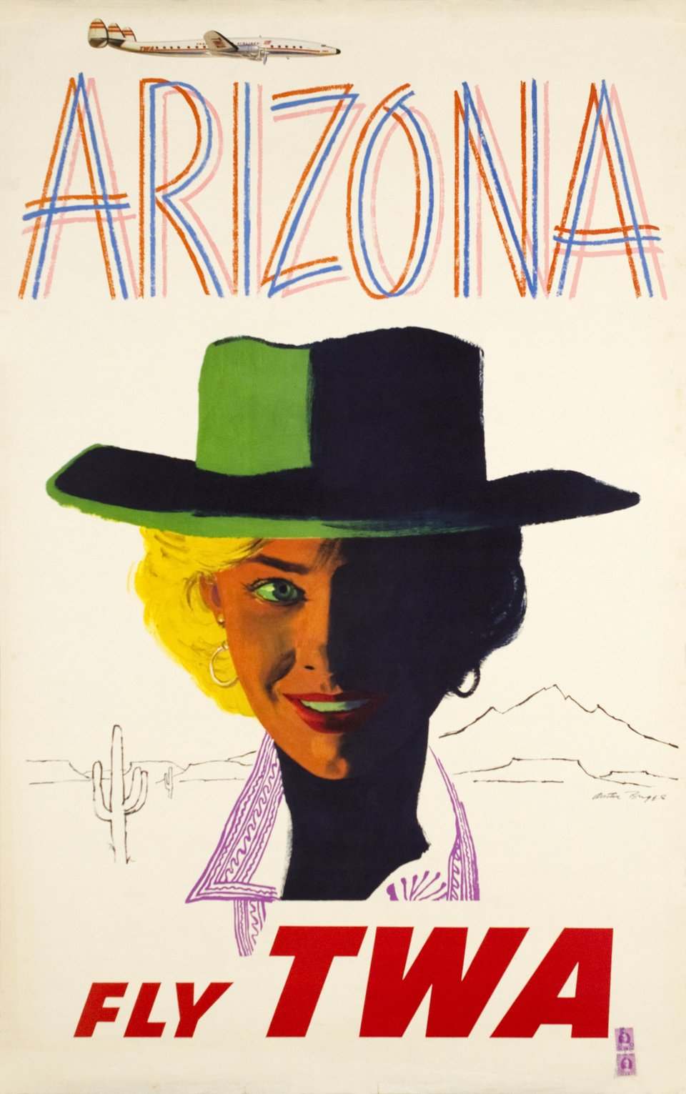 TWA, Arizona – Affiche ancienne – Austin BUGES – 1952