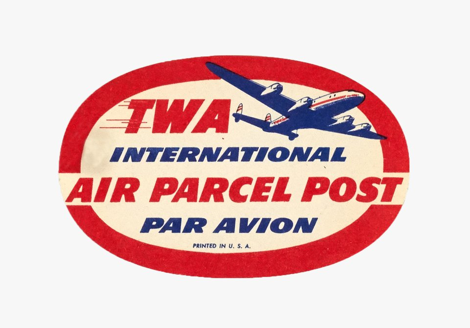 TWA international Air Parcel Post sticker – Vintage poster –  ANONYME – 1950
