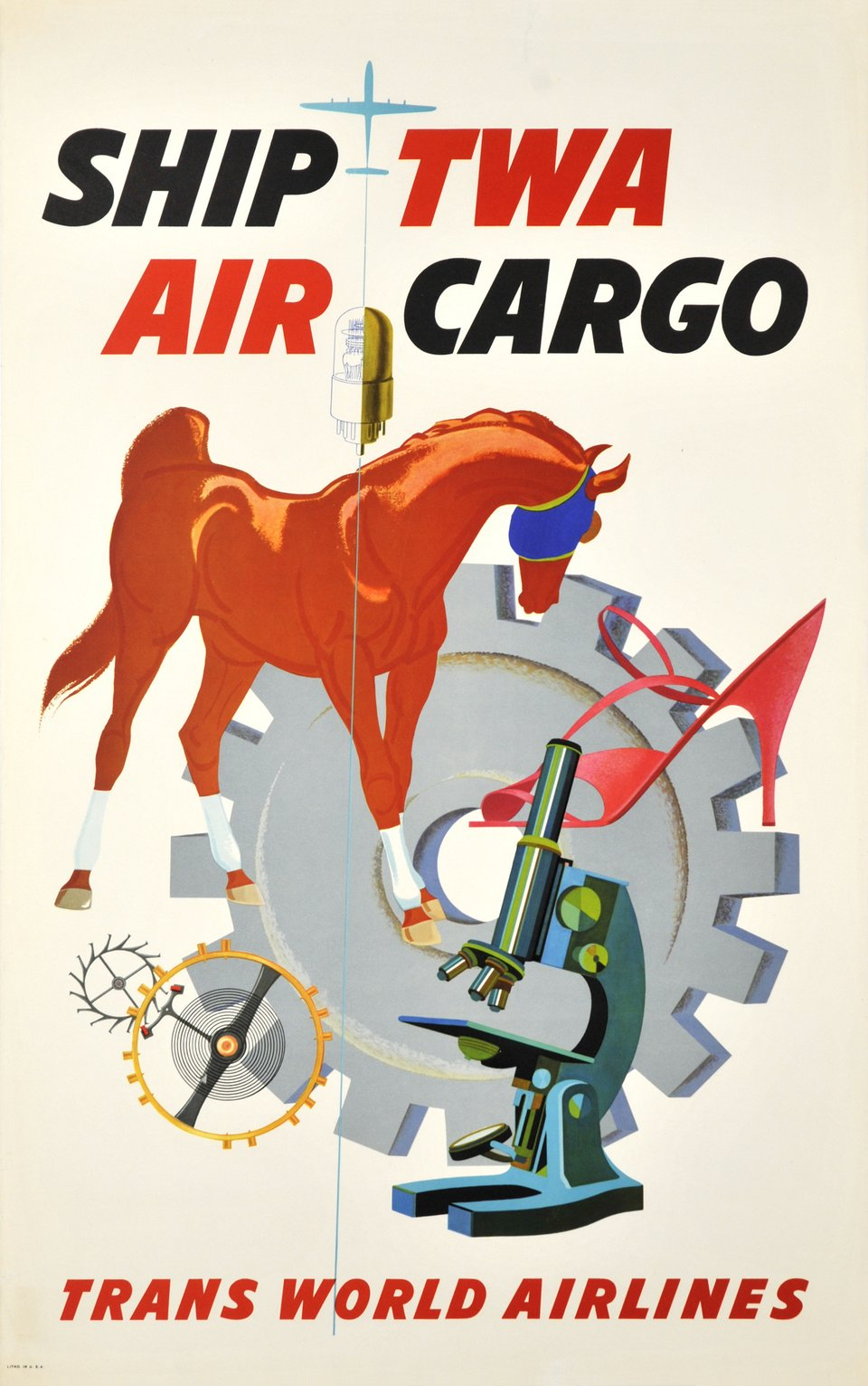 TWA, Ship TWA Air Cargo, Trans world Airlines – Vintage poster –  ANONYME – 1950