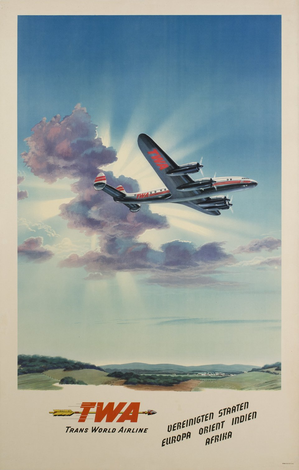 TWA, Trans World Airline – Vintage poster – ANONYMOUS – 1948