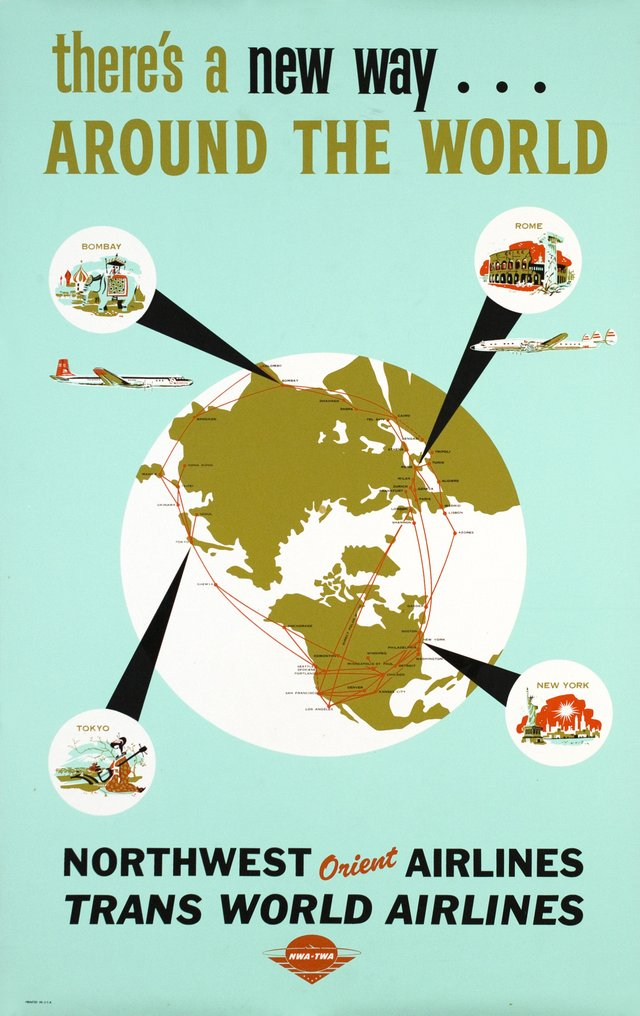 TWA, Trans World Airlines, Northwest Orient Airlines, around the world