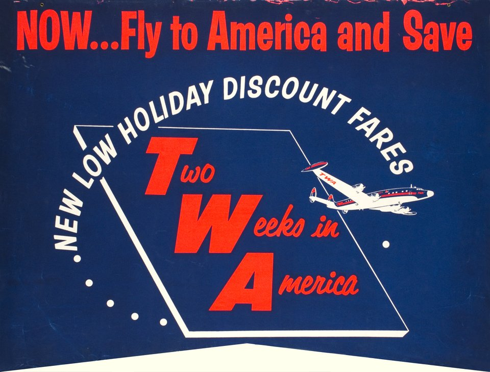 TWA, Two Weeks in America – Vintage poster –  ANONYME – 1950