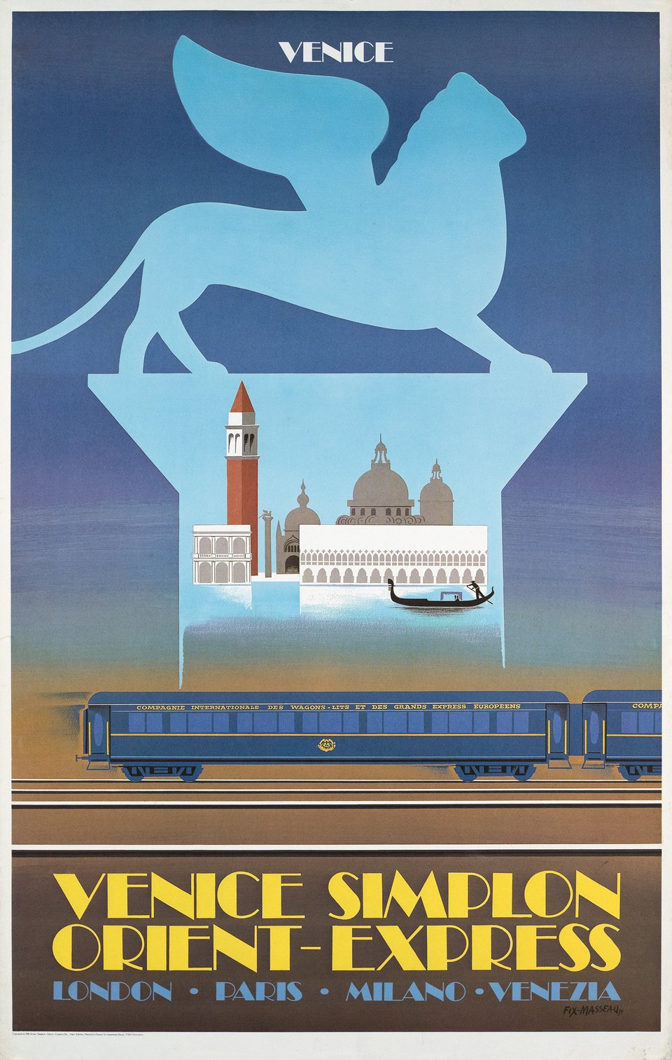 Venice Simplon Orient Express, London Paris Venice – Vintage poster – Pierre FIX-MASSEAU – 1981