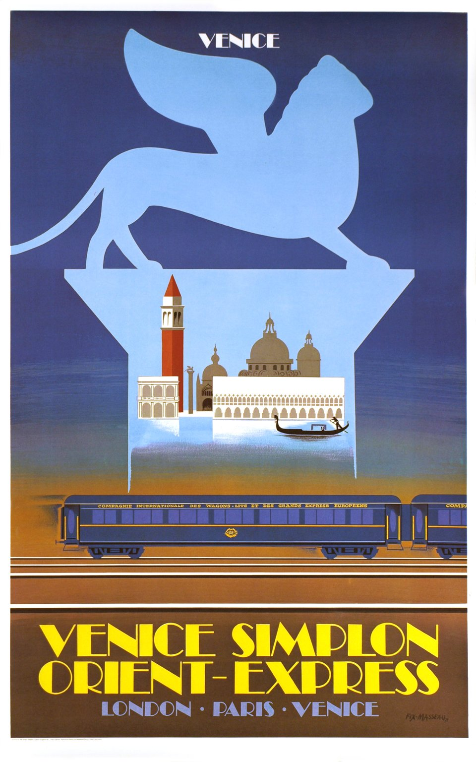 Venice Simplon Orient Express, London Paris Venice – Affiche ancienne – Pierre FIX-MASSEAU – 1981