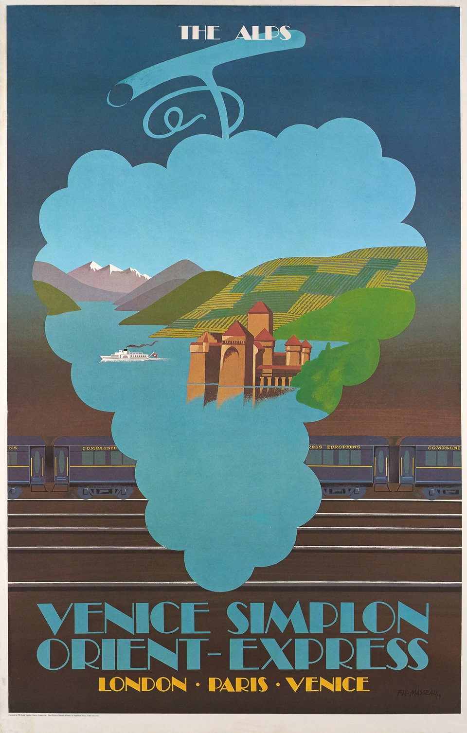 Venice Simplon Orient-Express, London Paris Venice, The Alps – Affiche ancienne – Pierre FIX-MASSEAU – 1981