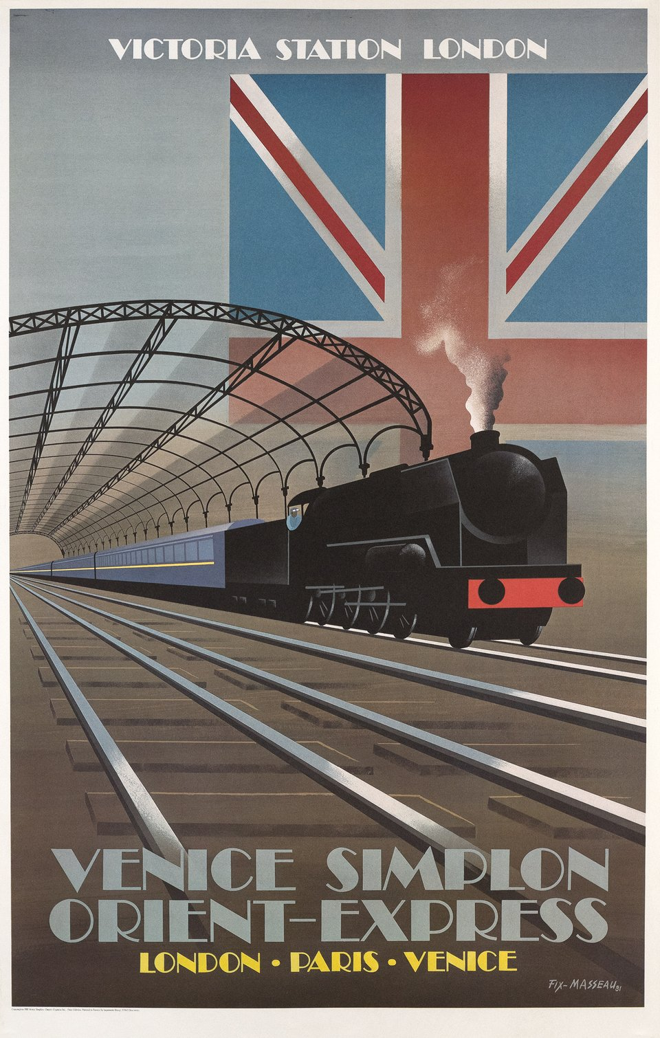 Victoria Station London, Venice Simplon Orient Express, London Paris Venice – Affiche ancienne – Pierre FIX-MASSEAU – 1981