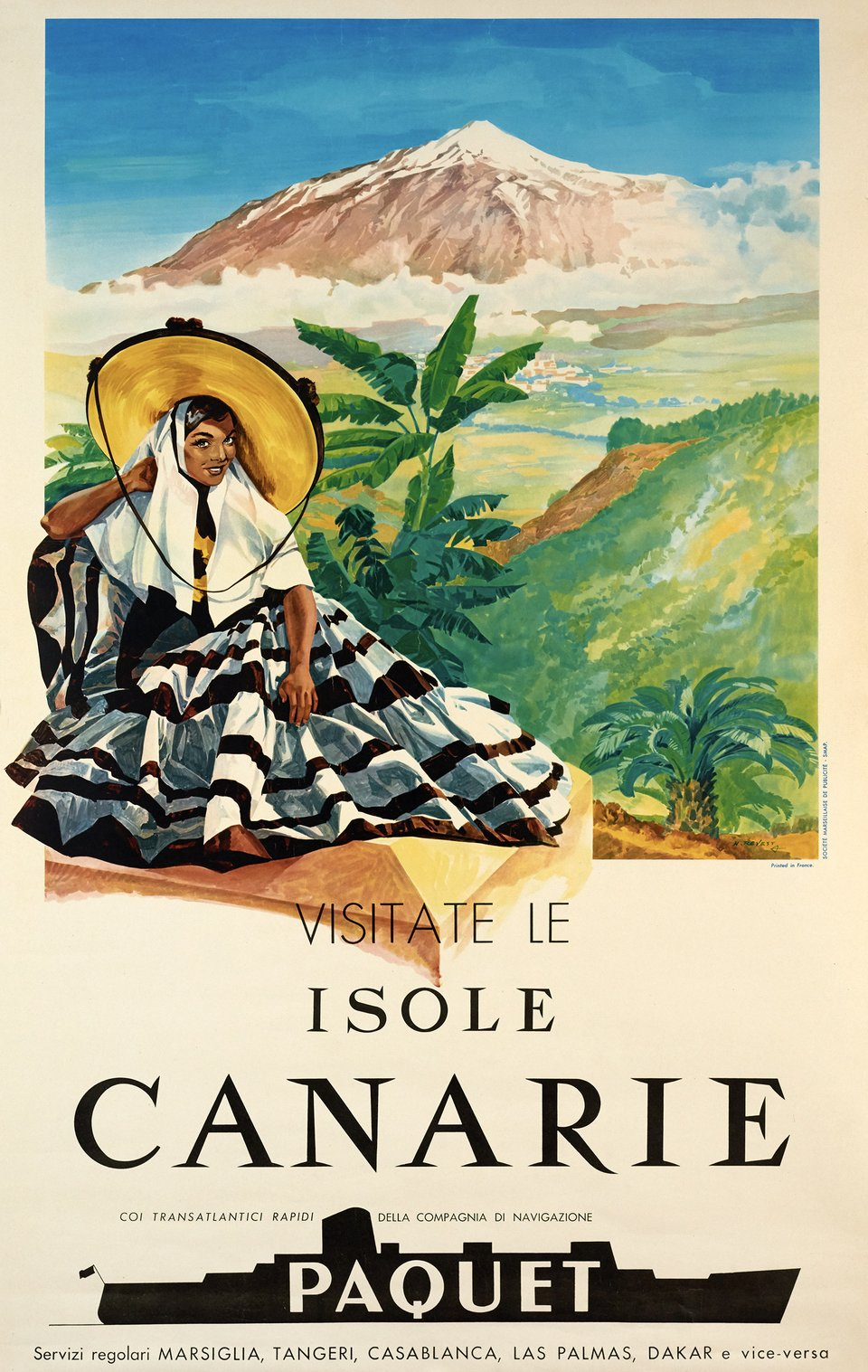 Visitate le Isole Canarie, Paquet – Affiche ancienne – NEVEST – 1959