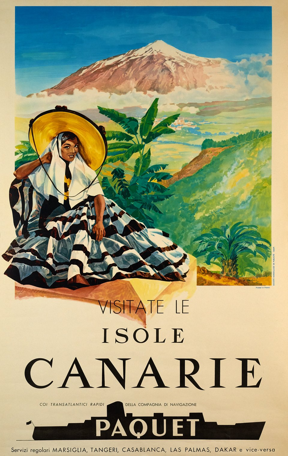 Visitate le Isole Canarie, Paquet – Vintage poster –  NEVEST – 1959