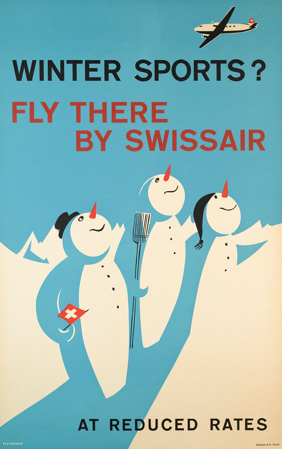 Winter Sports, Fly there by Swissair, At reduced rates – Affiche ancienne – Fredy PLETSCHER – 1953