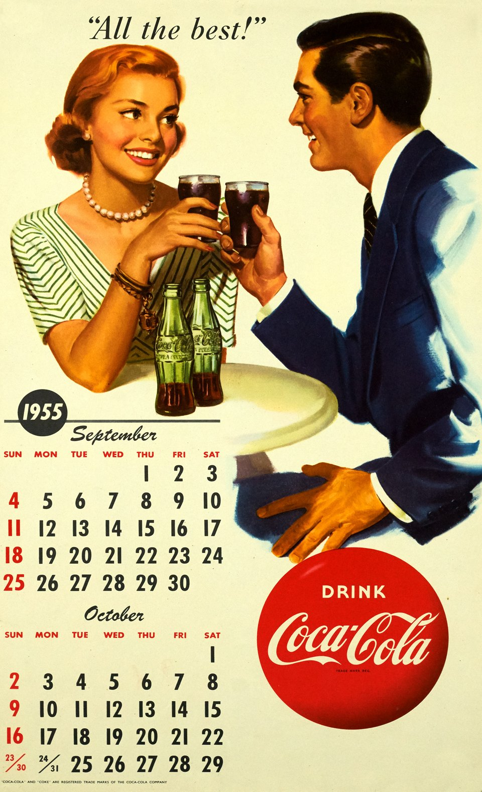 All the best, Drink Coca-Cola – Vintage poster –  ANONYME – 1955