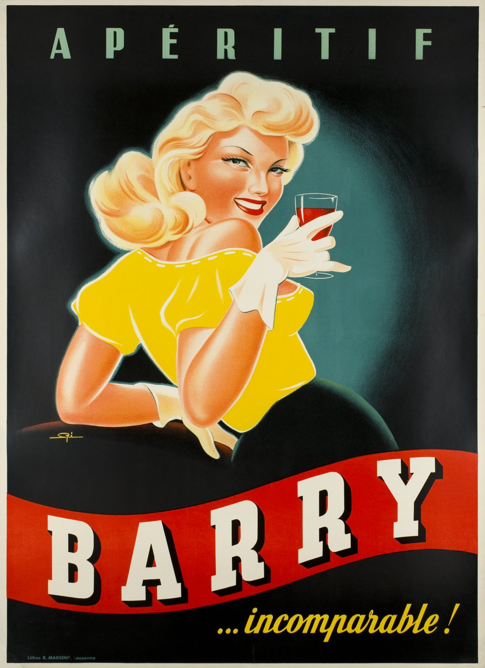 Barry, Apéritif incomparable – Affiche ancienne – Walther SPINNER – 1950