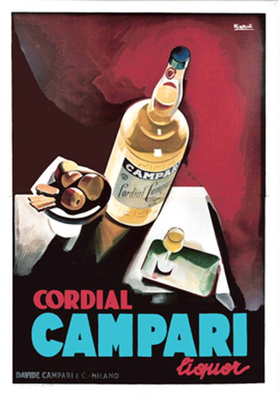 Campari, Cordial liquor – Affiche ancienne – Marcello NIZZOLI – 1926