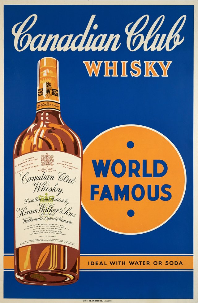 Canadian Club Whisky, World Famous, Ideal with Water or Soda