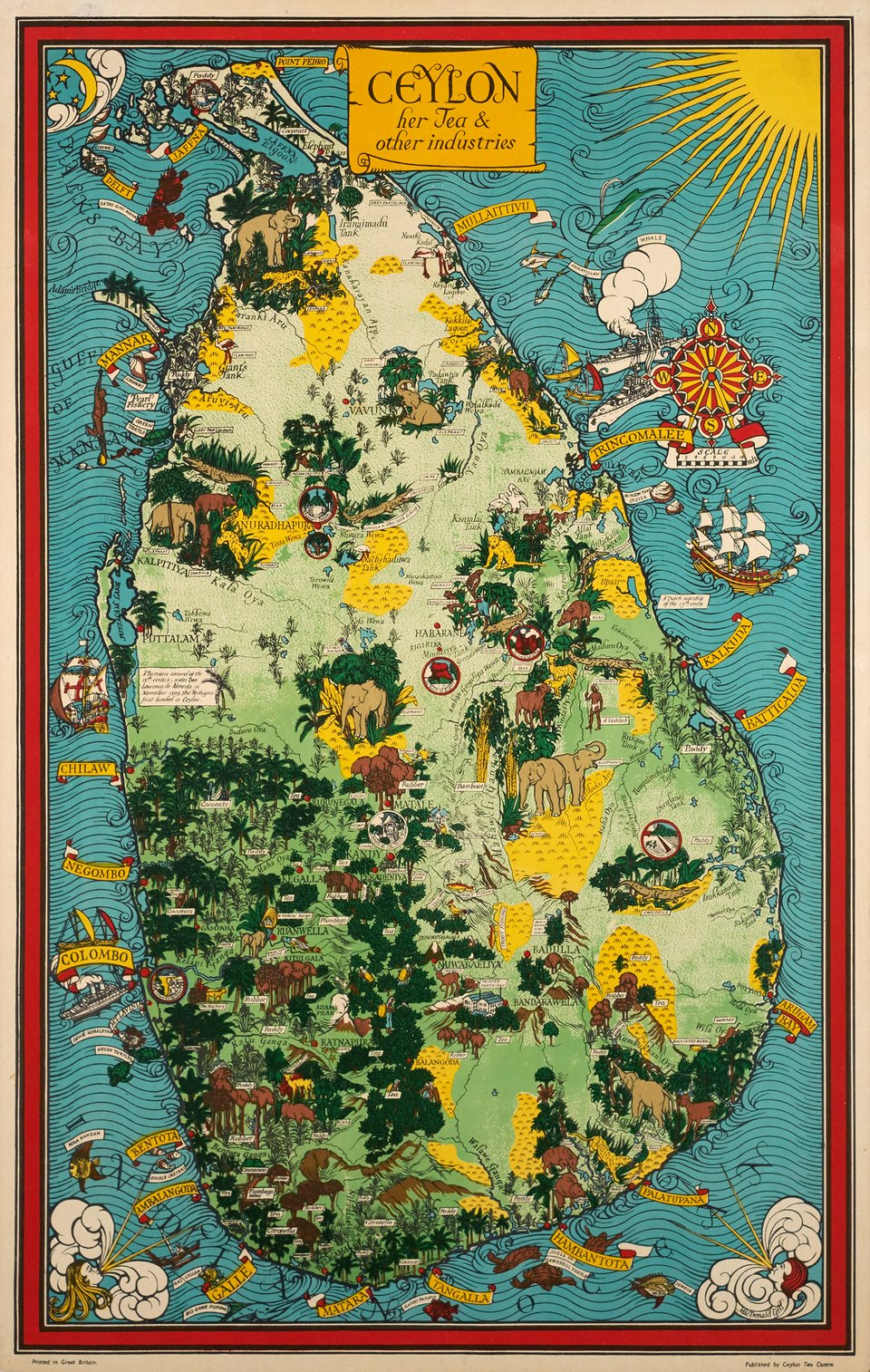 Ceylon, Her tea and other industries – Vintage poster – Leslie MacDonald GILL – 1950